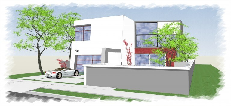 rendering of the front of 405 kilkea new home project